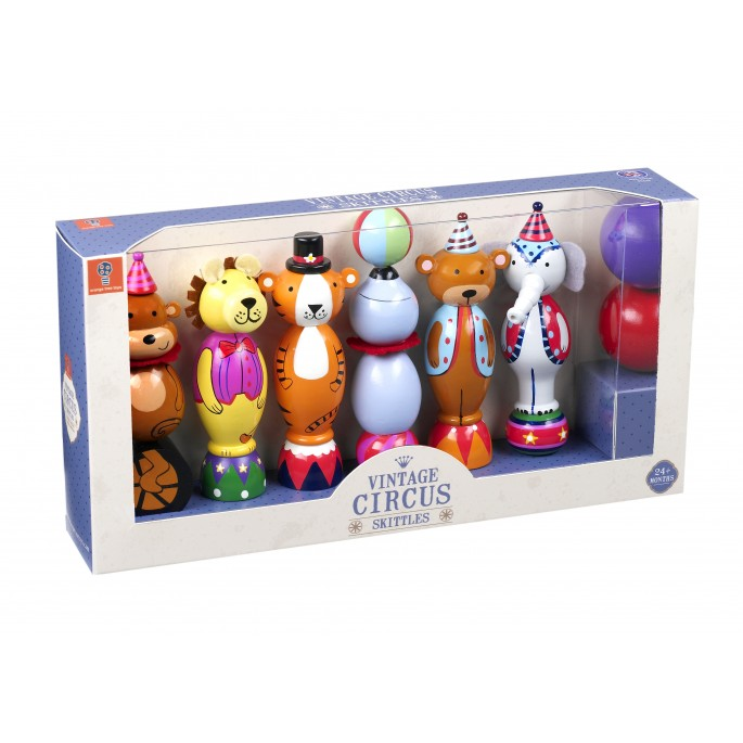 Orange Tree Toys Vintage Circus Wooden Skittles Bowling Set