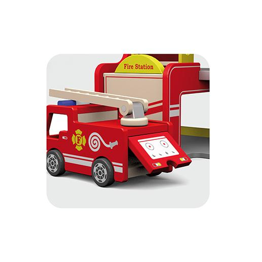 Viga Toys Wooden Fire Station With Fire Engine Helicopter And Firemen