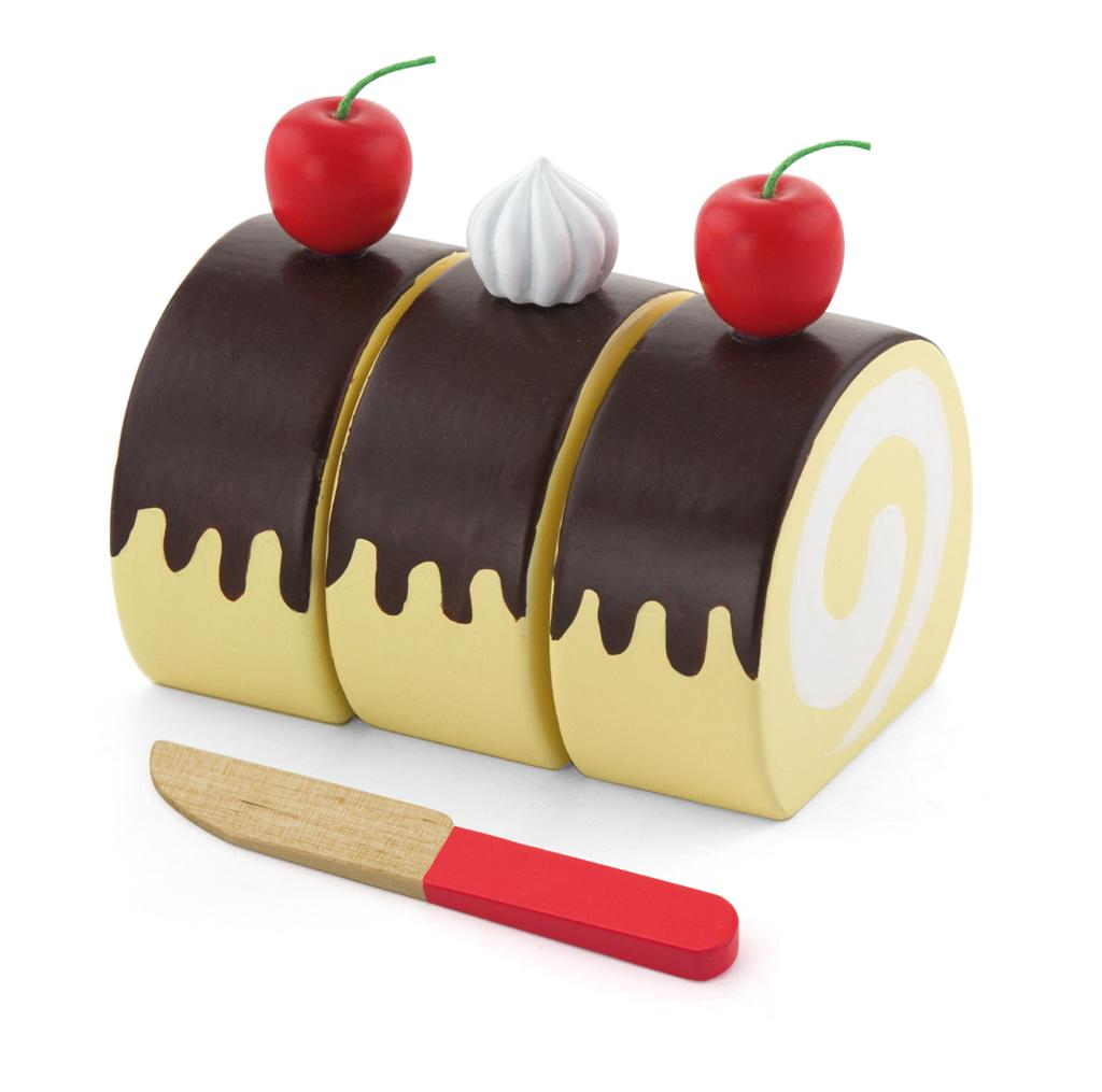 Viga Toys Wooden Chocolate Swiss Roll Cake