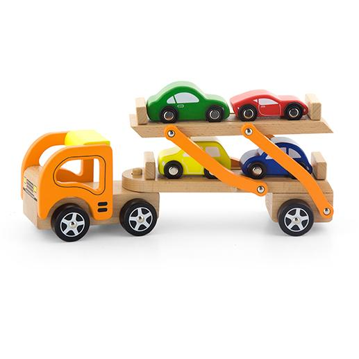 Toy Car Rack : Viga toys wooden semi truck car carrier with cars