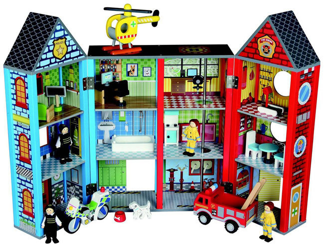 Bubbadoo Wooden Emergency Rescue Playset Fire Station Police Station