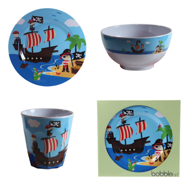 Bobble Art Melamine 3pc Dinner Set u2013 Cup Plate Bowl ...  sc 1 st  Baby Vegas & Bobble Art Melamine 3pc Dinner Set - Cup Plate Bowl - Pirate
