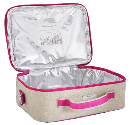 so young insulated lunch bag box raw linen pink birds baby vegas. Black Bedroom Furniture Sets. Home Design Ideas
