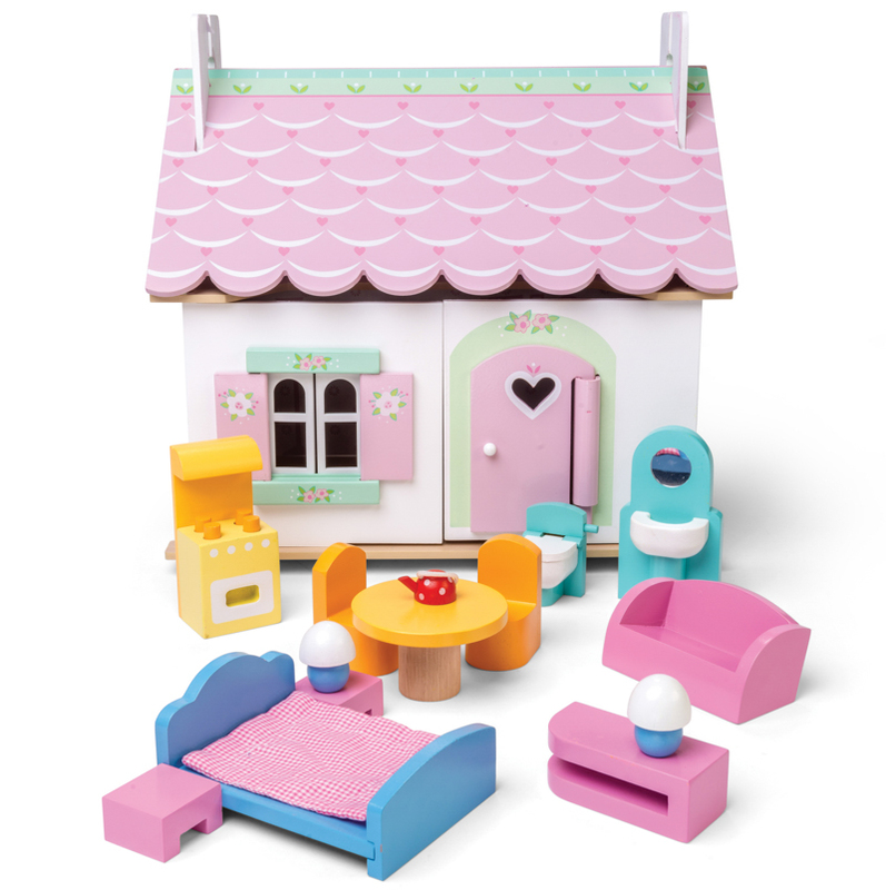 Le Toy Van Lily's Cottage Doll House with Furniture
