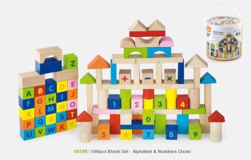 Viga Toys Wooden Building Blocks Set 100pc - Alphabet & Numbers
